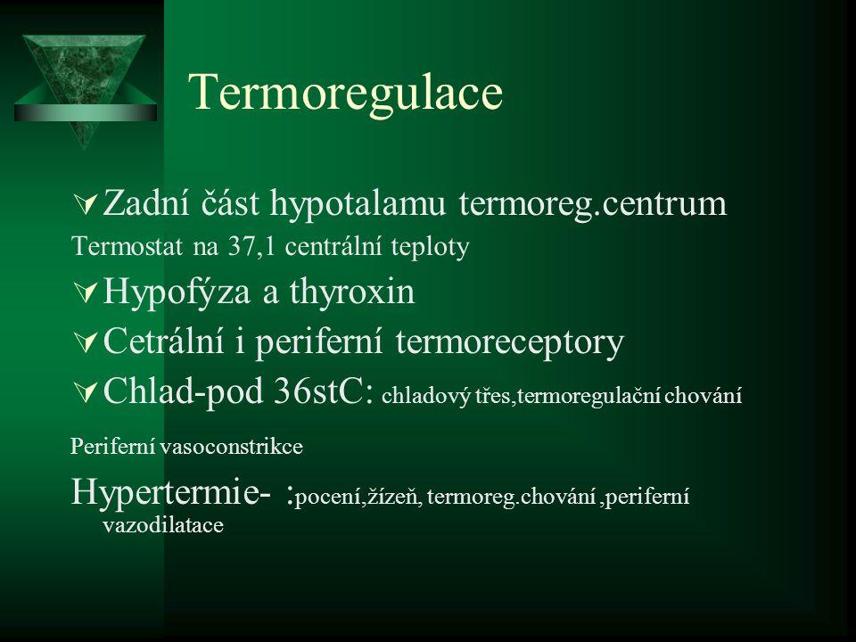 Termoregulace  Zadní část hypotalamu termoreg.centrum Termostat na 37,1 centrální teploty  Hypofýza a thyroxin  Cetrální i periferní termoreceptory  Chlad-pod 36stC: chladový třes,termoregulační chování Periferní vasoconstrikce Hypertermie- : pocení,žízeň, termoreg.chování,periferní vazodilatace