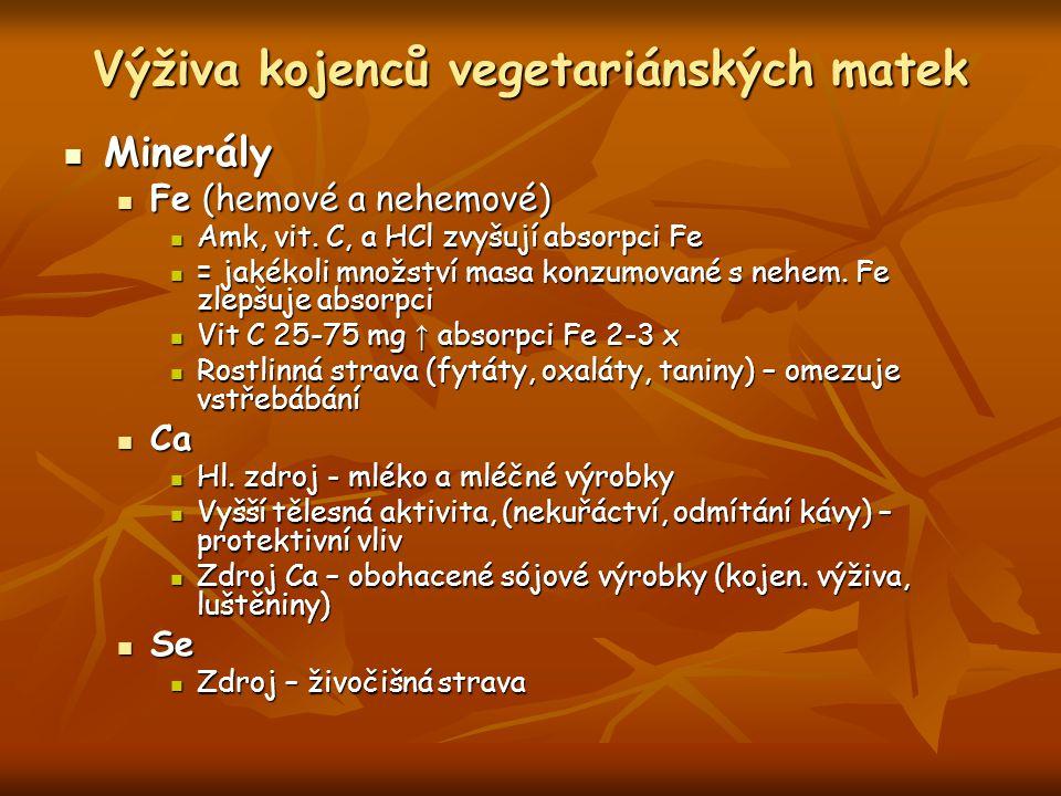Výživa kojenců vegetariánských matek Minerály Minerály Fe (hemové a nehemové) Fe (hemové a nehemové) Amk, vit.