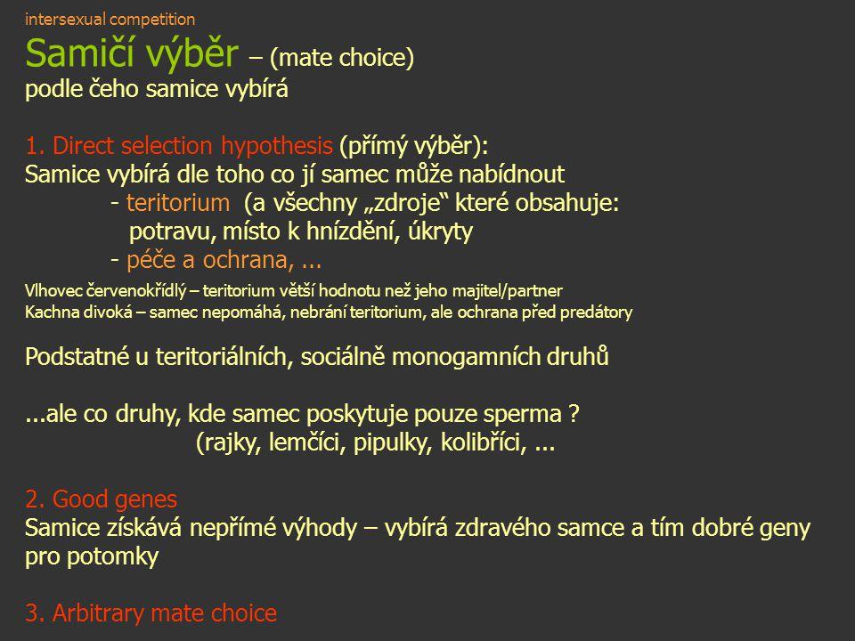 intersexual competition Samičí výběr – (mate choice) podle čeho samice vybírá 1. Direct selection hypothesis (přímý výběr): Samice vybírá dle toho co