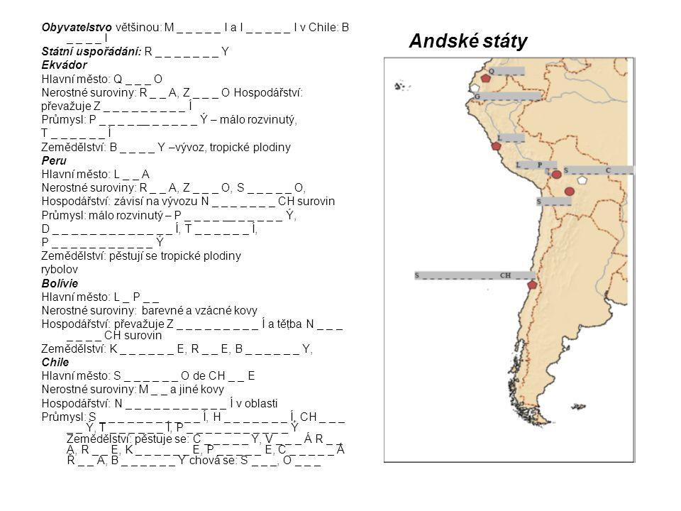 Andské státy Obyvatelstvo většinou: M _ _ _ _ _ I a I _ _ _ _ _ I v Chile: B _ _ _ _ I Státní uspořádání: R _ _ _ _ _ _ _ Y Ekvádor Hlavní město: Q _ _ _ O Nerostné suroviny: R _ _ A, Z _ _ _ O Hospodářství: převažuje Z _ _ _ _ _ _ _ _ _ Í Průmysl: P _ _ _ _ __ _ _ _ _ _ Ý – málo rozvinutý, T _ _ _ _ _ _ Í Zemědělství: B _ _ _ _ Y –vývoz, tropické plodiny Peru Hlavní město: L _ _ A Nerostné suroviny: R _ _ A, Z _ _ _ O, S _ _ _ _ _ O, Hospodářství: závisí na vývozu N _ _ _ _ _ _ _ CH surovin Průmysl: málo rozvinutý – P _ _ _ _ __ _ _ _ _ _ Ý, D _ _ _ _ _ _ _ _ _ _ _ _ _ Í, T _ _ _ _ _ _ Í, P _ _ _ _ _ _ _ _ _ _ _ Ý Zemědělství: pěstují se tropické plodiny rybolov Bolívie Hlavní město: L _ P _ _ Nerostné suroviny: barevné a vzácné kovy Hospodářství: převažuje Z _ _ _ _ _ _ _ _ _ Í a těţba N _ _ _ _ _ _ _ CH surovin Zemědělství: K _ _ _ _ _ _ E, R _ _ E, B _ _ _ _ _ _ Y, Chile Hlavní město: S _ _ _ _ _ _ O de CH _ _ E Nerostné suroviny: M _ _ a jiné kovy Hospodářství: N _ _ _ _ _ _ _ _ _ _ _ Í v oblasti Průmysl: S _ _ _ _ _ _ _ _ _ _ _ Í, H _ _ _ _ _ _ _ Í, CH _ _ _ _ _ Ý, T _ _ _ _ _ _ Í, P _ _ _ _ _ _ _ _ _ _ _ Ý Zemědělství: pěstuje se: C _ _ _ _ _ Y, V _ _ _ Á R _ _ A, R _ _ E, K _ _ _ _ _ _ E, P _ _ _ _ _ E, C _ _ _ _ _ Á Ř _ _ A, B _ _ _ _ _ _ Y chová se: S _ _ _, O _ _ _