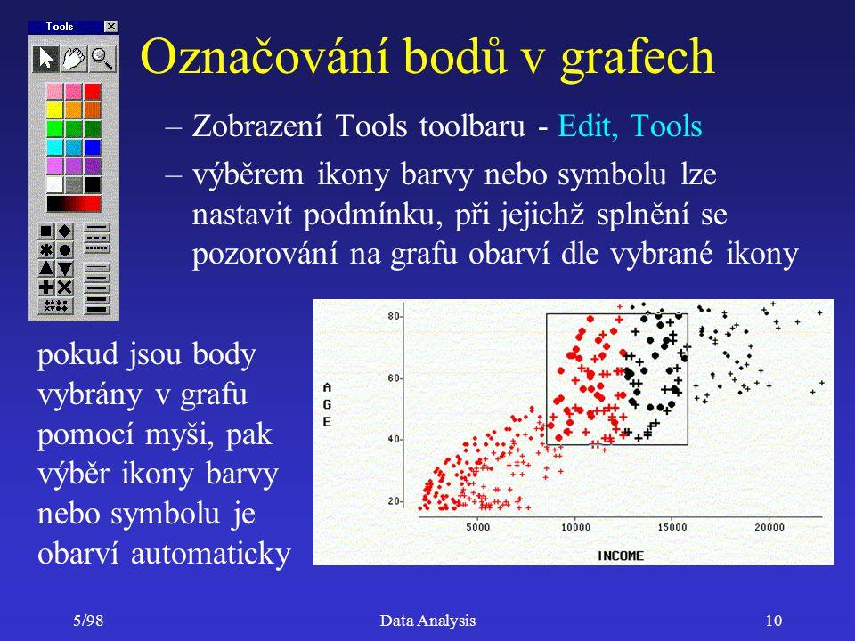 5/98Data Analysis10 Označování bodů v grafech –Zobrazení Tools toolbaru - Edit, Tools –výběrem ikony barvy nebo symbolu lze nastavit podmínku, při jej