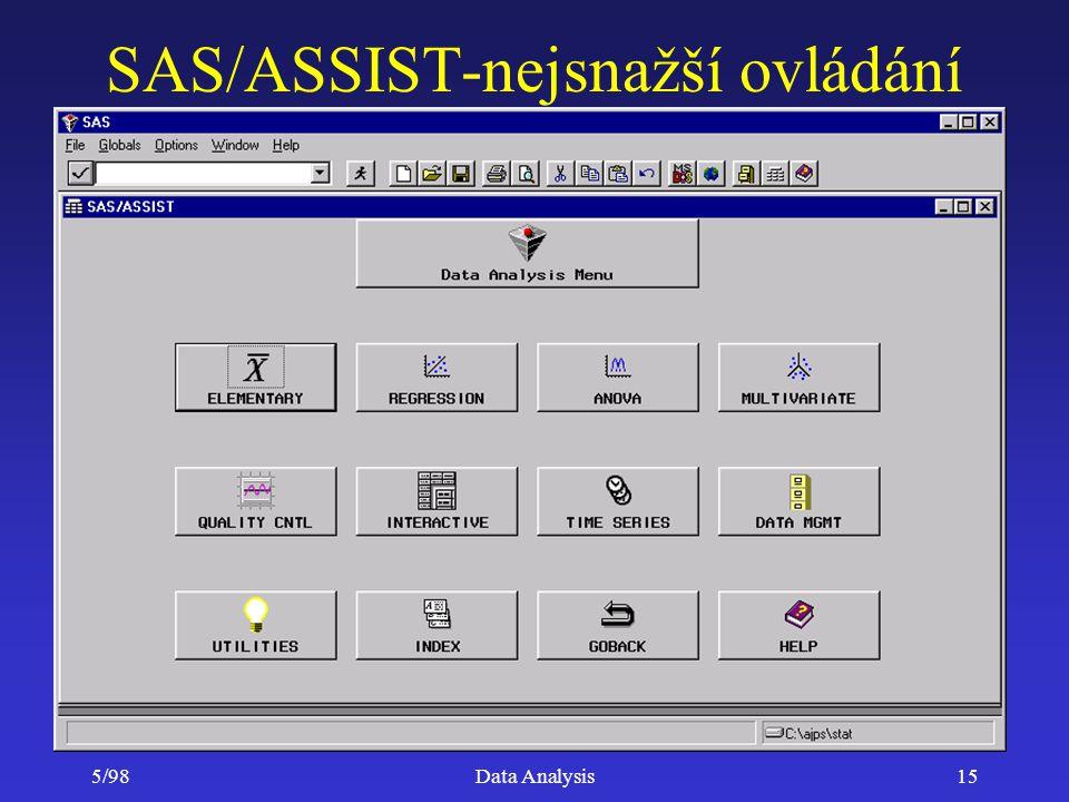 5/98Data Analysis15 SAS/ASSIST-nejsnažší ovládání
