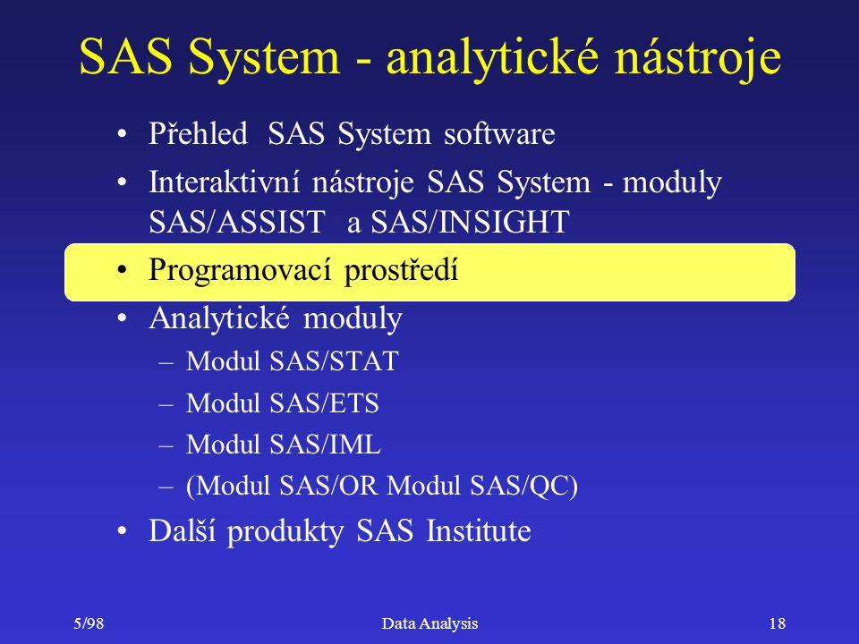 5/98Data Analysis18 SAS System - analytické nástroje Přehled SAS System software Interaktivní nástroje SAS System - moduly SAS/ASSIST a SAS/INSIGHT Pr