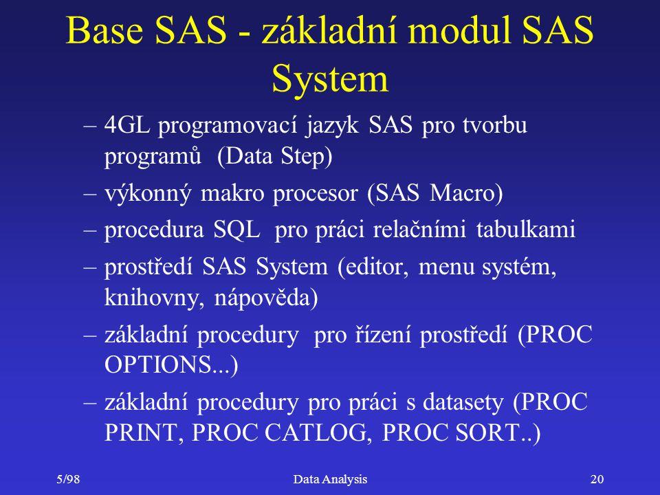 5/98Data Analysis20 Base SAS - základní modul SAS System –4GL programovací jazyk SAS pro tvorbu programů (Data Step) –výkonný makro procesor (SAS Macr
