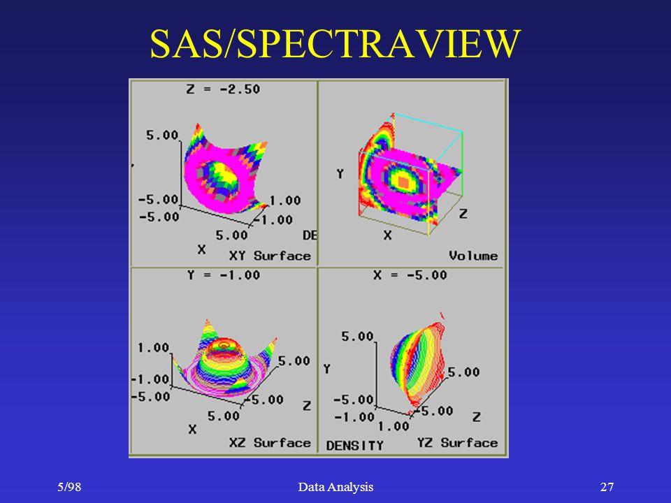 5/98Data Analysis27 SAS/SPECTRAVIEW