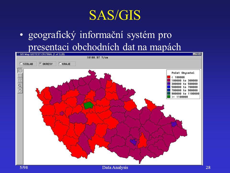 5/98Data Analysis28 SAS/GIS geografický informační systém pro presentaci obchodních dat na mapách
