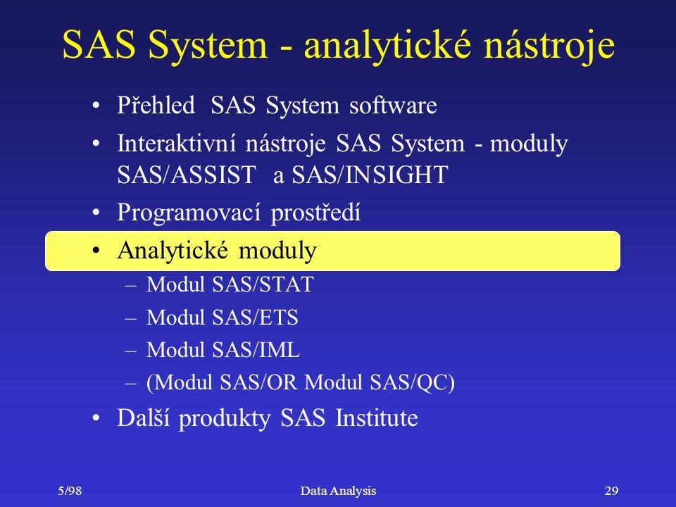 5/98Data Analysis29 SAS System - analytické nástroje Přehled SAS System software Interaktivní nástroje SAS System - moduly SAS/ASSIST a SAS/INSIGHT Pr