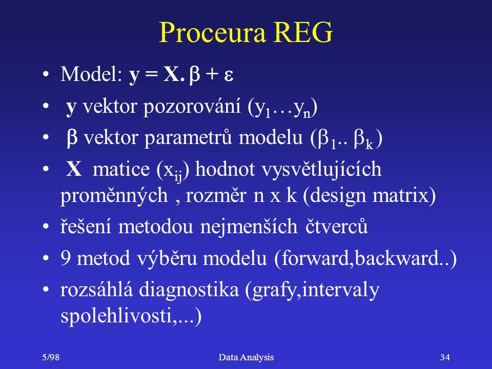 5/98Data Analysis34 Proceura REG Model: y = X.  +  y vektor pozorování (y  …y n )  vektor parametrů modelu (  1..  k ) X matice (x ij ) hodnot v