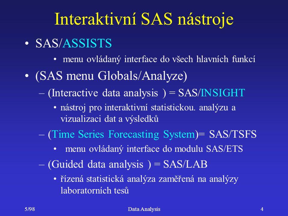 5/98Data Analysis5 Interaktivní SAS nástroje –(Quality improvement) = SAS/QC (SQC) integrovaný GUI pro řízení a kontrolu kvality –(Project management) = PROJMAN SAS/OR operační výzkum a řízení projektů –(Design of experiments) = ADX interaktivní nástroj pro návrh experimentů SAS/SPECTRAVIEW - zobrazeni 3D ANALYST (volně šířený modul) interaktivní nástroj pro statistikou analýzu RESEARCH ANALYST modifikovatelný analytický nástroj