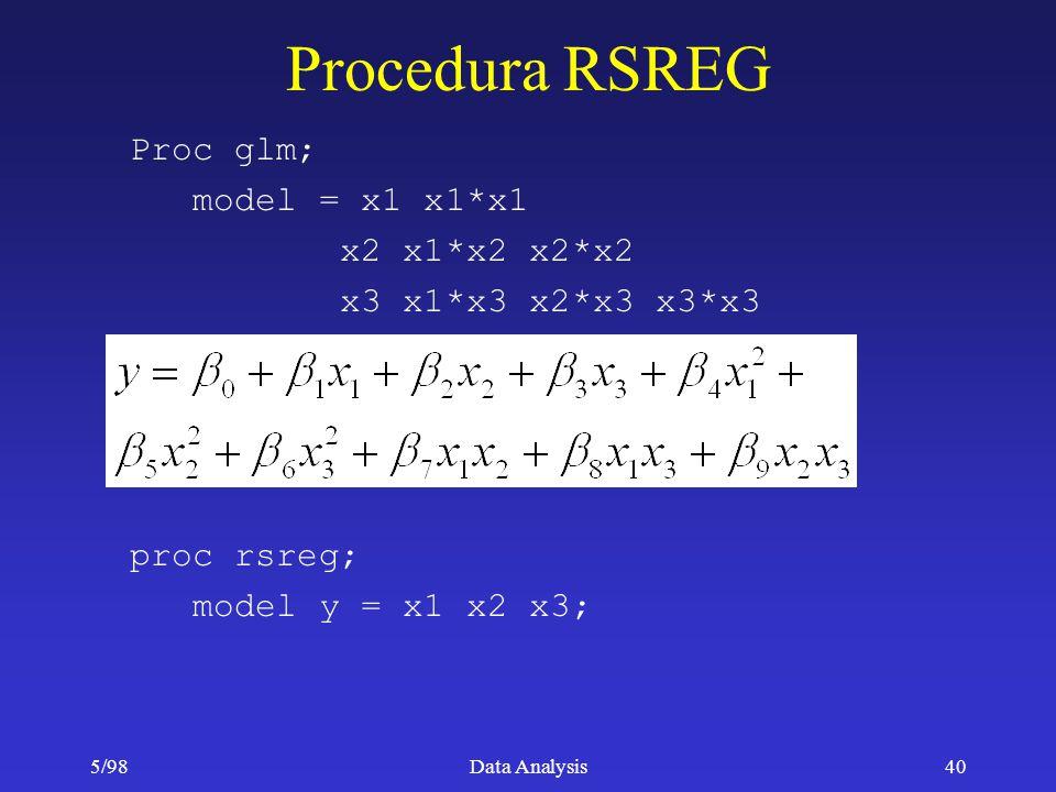 5/98Data Analysis40 Procedura RSREG Proc glm; model = x1 x1*x1 x2 x1*x2 x2*x2 x3 x1*x3 x2*x3 x3*x3 proc rsreg; model y = x1 x2 x3;