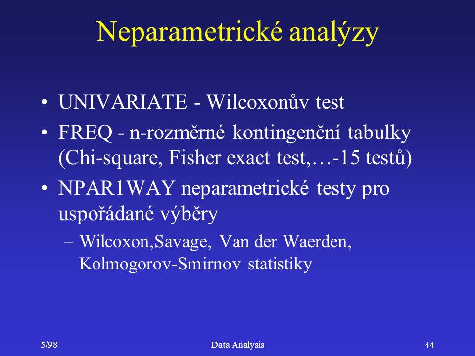 5/98Data Analysis44 Neparametrické analýzy UNIVARIATE - Wilcoxonův test FREQ - n-rozměrné kontingenční tabulky (Chi-square, Fisher exact test,…-15 tes