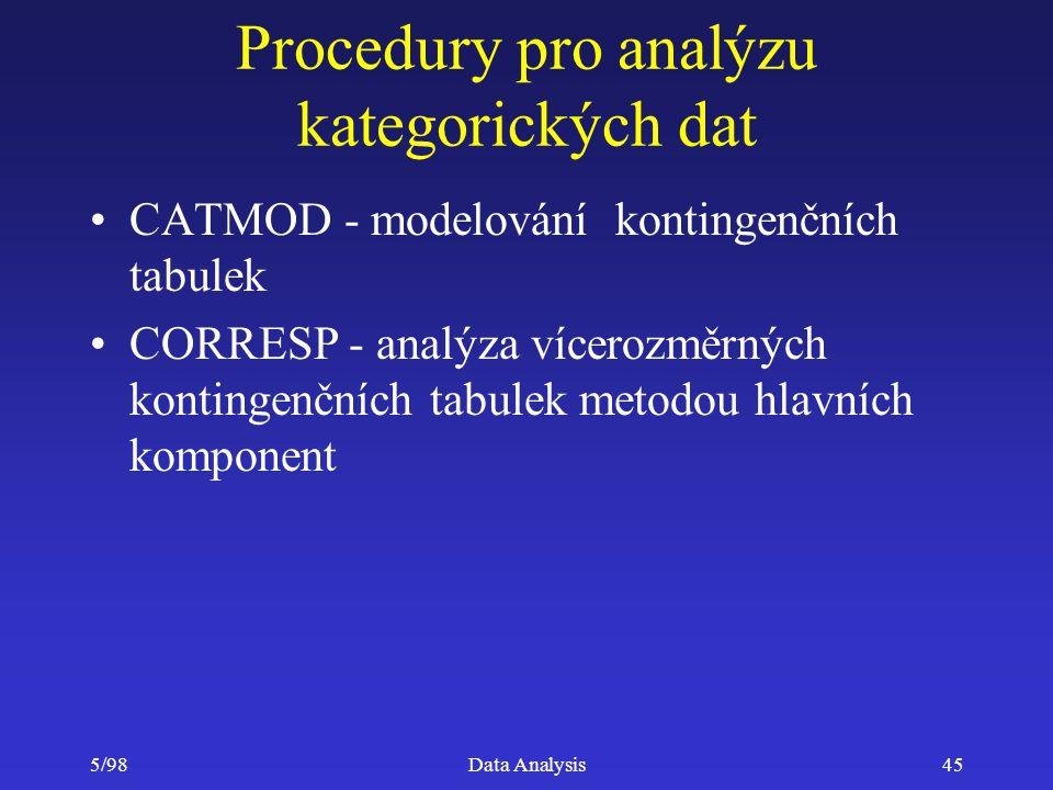 5/98Data Analysis45 Procedury pro analýzu kategorických dat CATMOD - modelování kontingenčních tabulek CORRESP - analýza vícerozměrných kontingenčních
