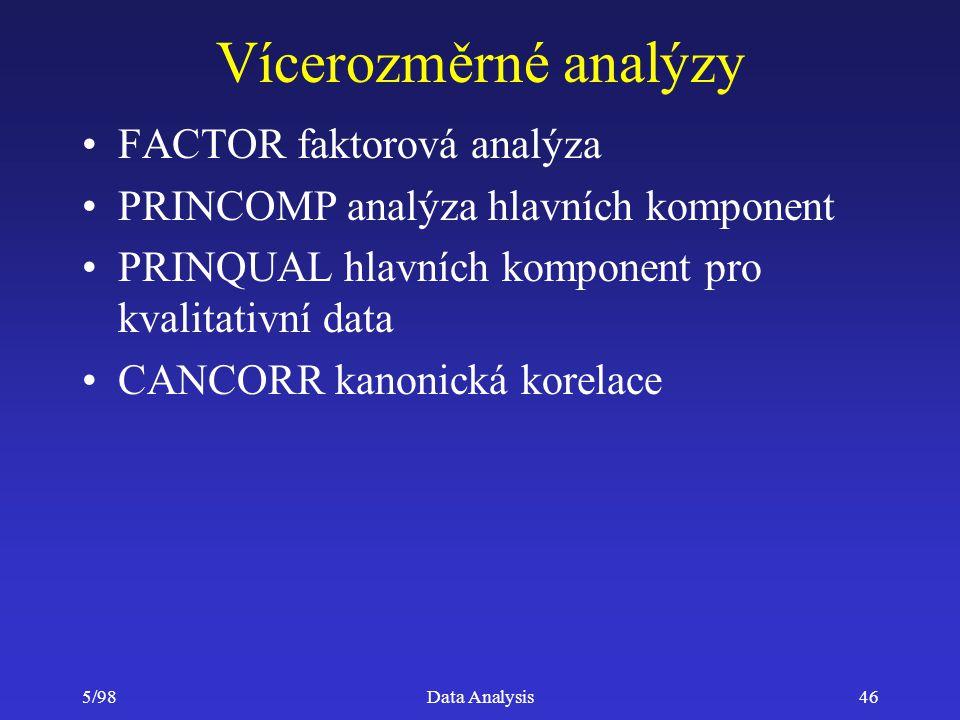 5/98Data Analysis46 Vícerozměrné analýzy FACTOR faktorová analýza PRINCOMP analýza hlavních komponent PRINQUAL hlavních komponent pro kvalitativní dat