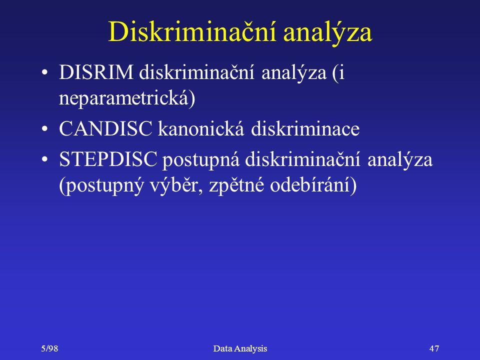 5/98Data Analysis47 Diskriminační analýza DISRIM diskriminační analýza (i neparametrická) CANDISC kanonická diskriminace STEPDISC postupná diskriminač