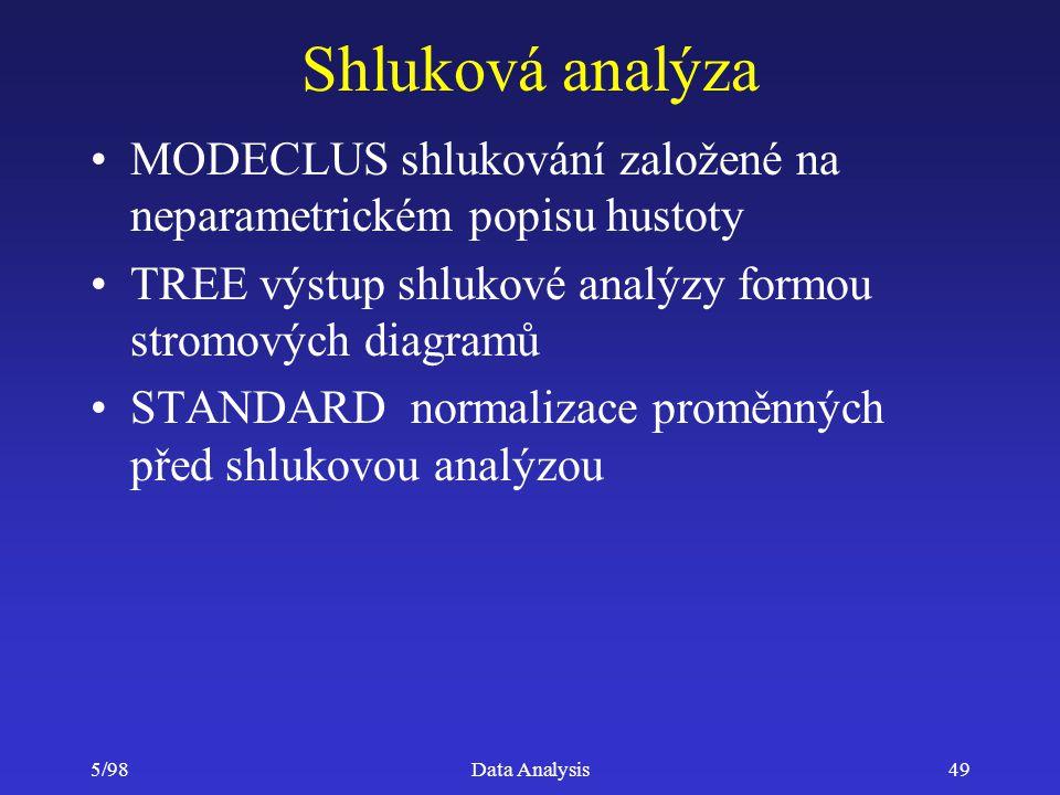 5/98Data Analysis49 Shluková analýza MODECLUS shlukování založené na neparametrickém popisu hustoty TREE výstup shlukové analýzy formou stromových dia