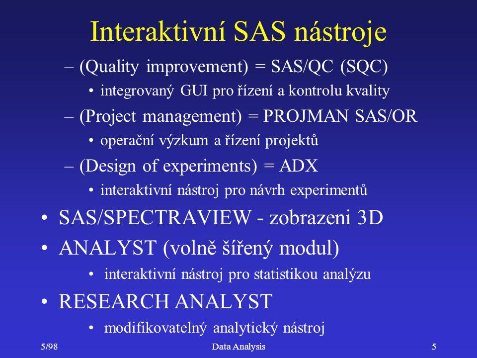 5/98Data Analysis16 SAS/ASSIST =menu interface Systém menu zastřešující všechny nástroje –tvorbu dat a jejich úpravy –provádění statistických analýz z STAT a ETS nevyžaduje znalost programování –log výpis poskytuje informaci jak byly použity procedury STAT a ETS modulů možnost uschovat programy a znovu je spouštět v dávkovém režimu
