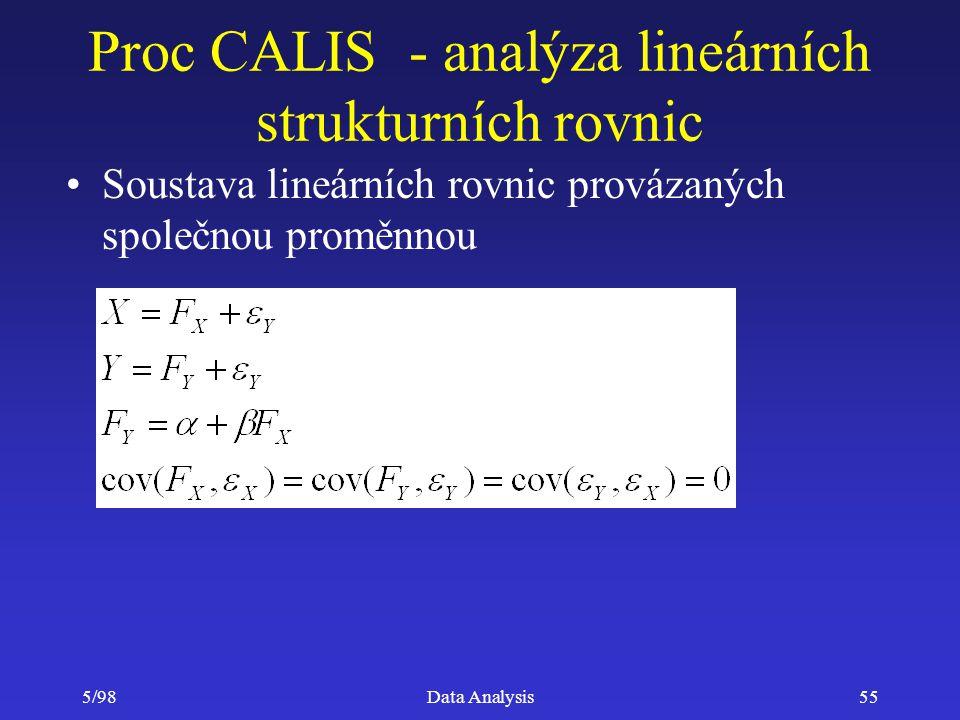 5/98Data Analysis55 Proc CALIS - analýza lineárních strukturních rovnic Soustava lineárních rovnic provázaných společnou proměnnou