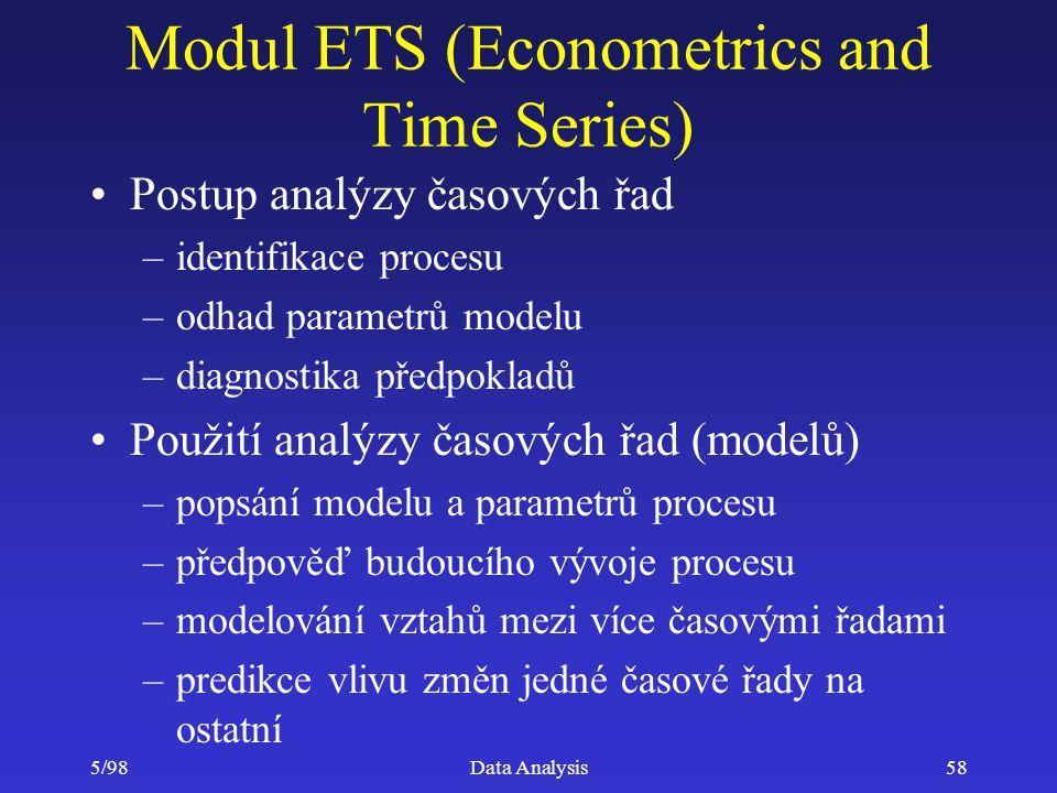 5/98Data Analysis58 Modul ETS (Econometrics and Time Series) Postup analýzy časových řad –identifikace procesu –odhad parametrů modelu –diagnostika př