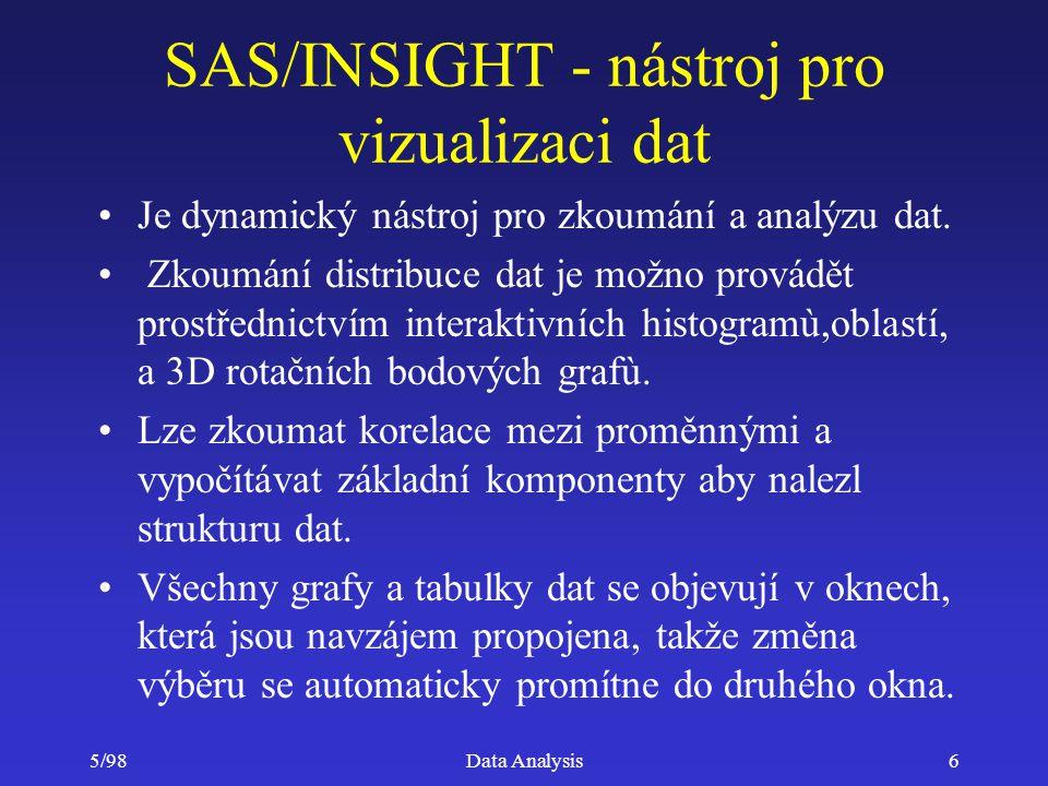 5/98Data Analysis57 SAS System - analytické nástroje Přehled SAS System software Interaktivní nástroje SAS System - moduly SAS/ASSIST a SAS/INSIGHT Programovací prostředí Analytické moduly –Modul SAS/STAT –Modul SAS/ETS –Modul SAS/IML –(Modul SAS/OR Modul SAS/QC) Další produkty SAS Institute