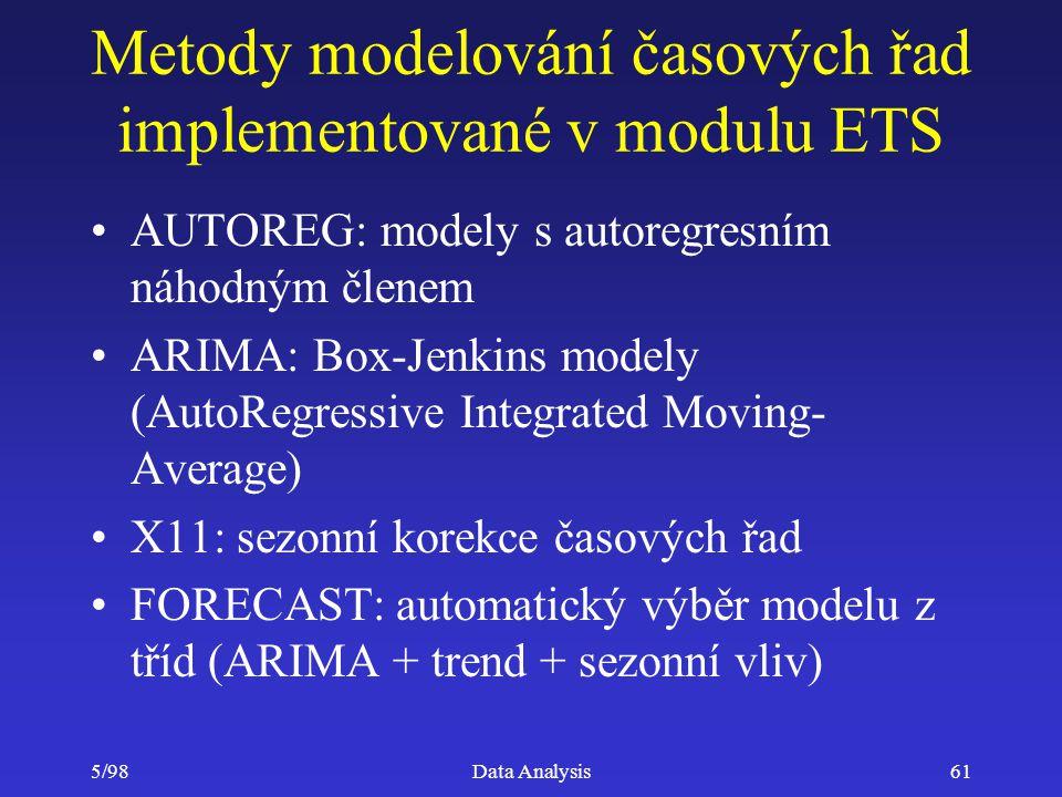 5/98Data Analysis61 Metody modelování časových řad implementované v modulu ETS AUTOREG: modely s autoregresním náhodným členem ARIMA: Box-Jenkins mode