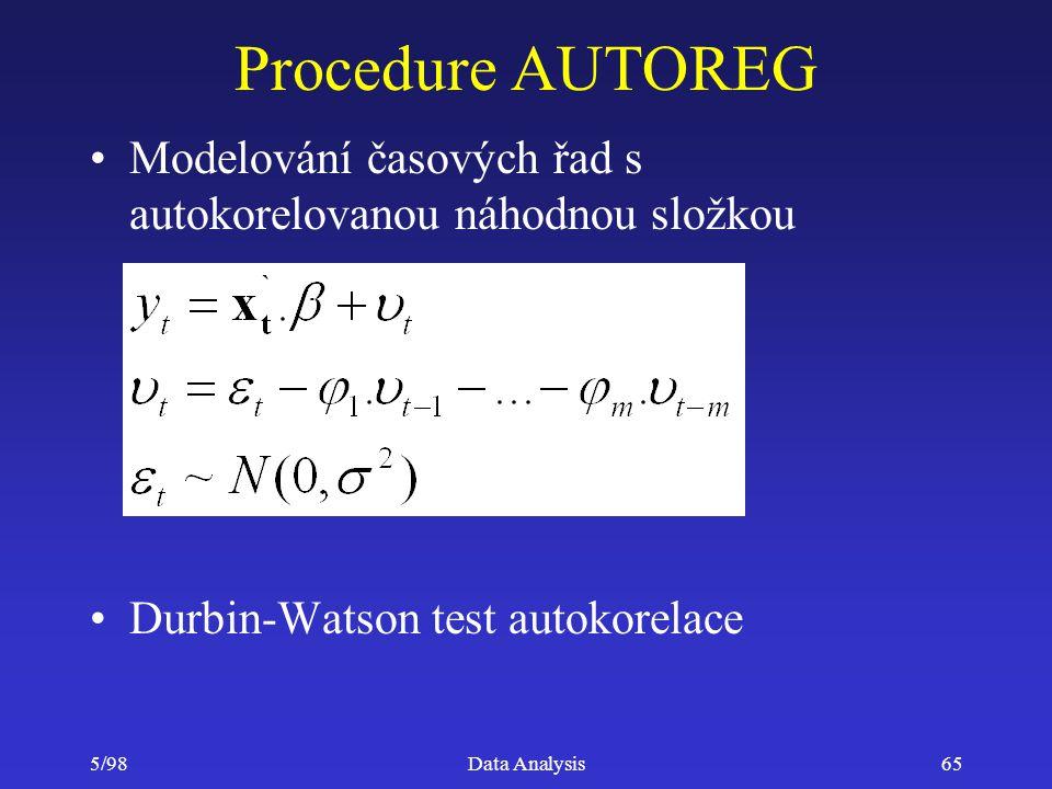 5/98Data Analysis65 Procedure AUTOREG Modelování časových řad s autokorelovanou náhodnou složkou Durbin-Watson test autokorelace