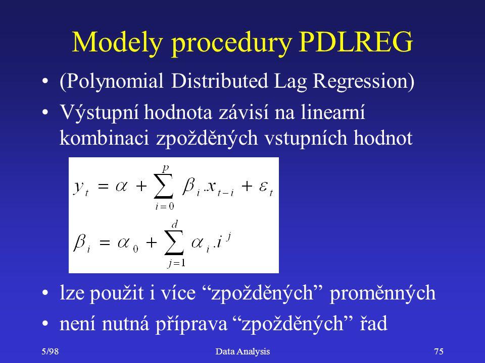 5/98Data Analysis75 Modely procedury PDLREG (Polynomial Distributed Lag Regression) Výstupní hodnota závisí na linearní kombinaci zpožděných vstupních