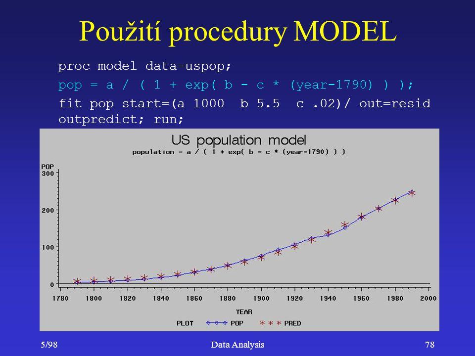 5/98Data Analysis78 Použití procedury MODEL proc model data=uspop; pop = a / ( 1 + exp( b - c * (year-1790) ) ); fit pop start=(a 1000 b 5.5 c.02)/ ou