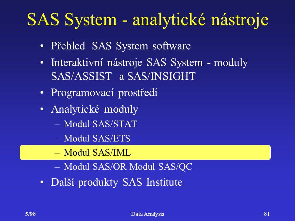 5/98Data Analysis81 SAS System - analytické nástroje Přehled SAS System software Interaktivní nástroje SAS System - moduly SAS/ASSIST a SAS/INSIGHT Pr