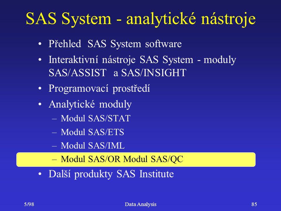 5/98Data Analysis85 SAS System - analytické nástroje Přehled SAS System software Interaktivní nástroje SAS System - moduly SAS/ASSIST a SAS/INSIGHT Pr