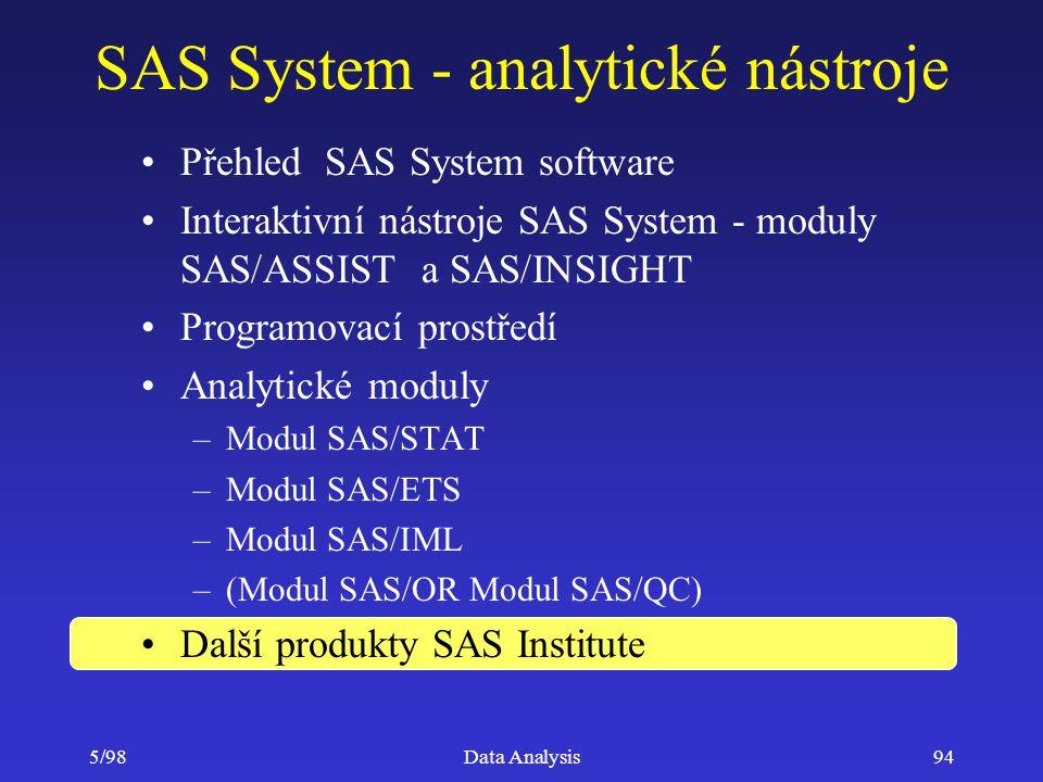 5/98Data Analysis94 SAS System - analytické nástroje Přehled SAS System software Interaktivní nástroje SAS System - moduly SAS/ASSIST a SAS/INSIGHT Pr
