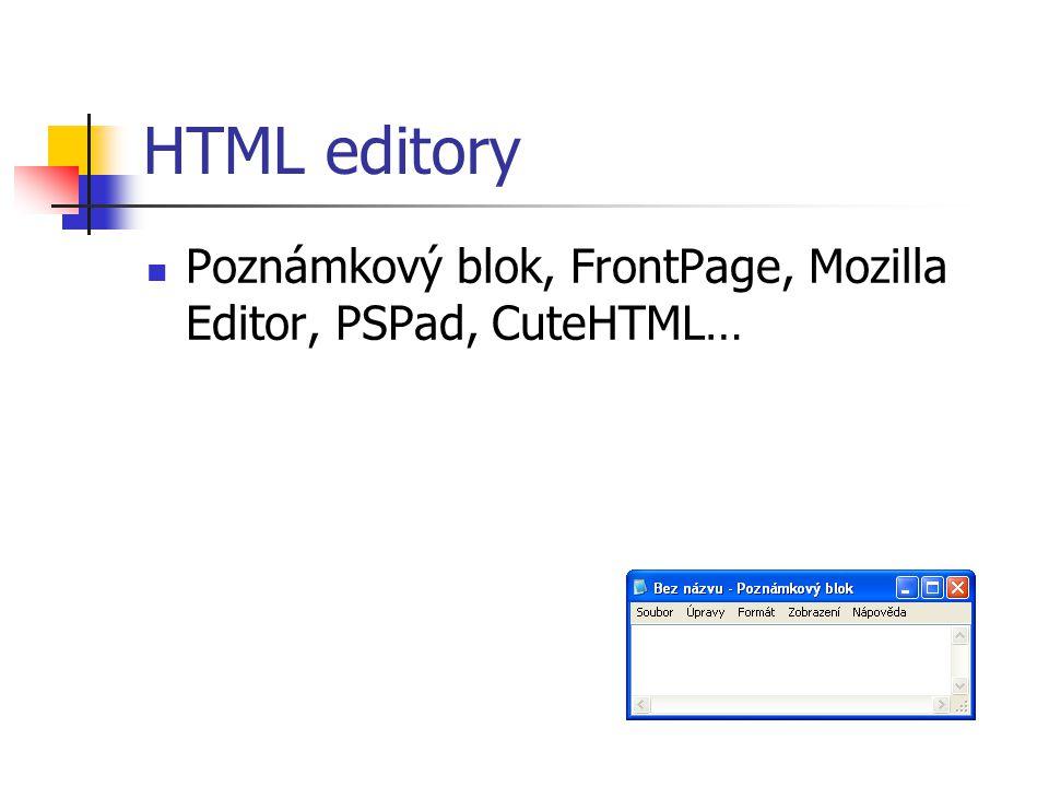 HTML editory Poznámkový blok, FrontPage, Mozilla Editor, PSPad, CuteHTML…