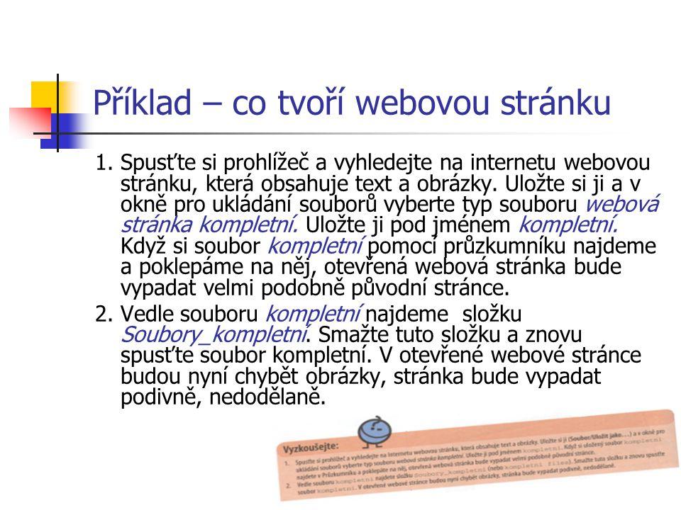 Příklad – co tvoří webovou stránku 1.