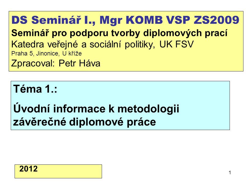 2 Úvod, cíle semináře.1.Co je to diplomová práce, co je jejím cílem.