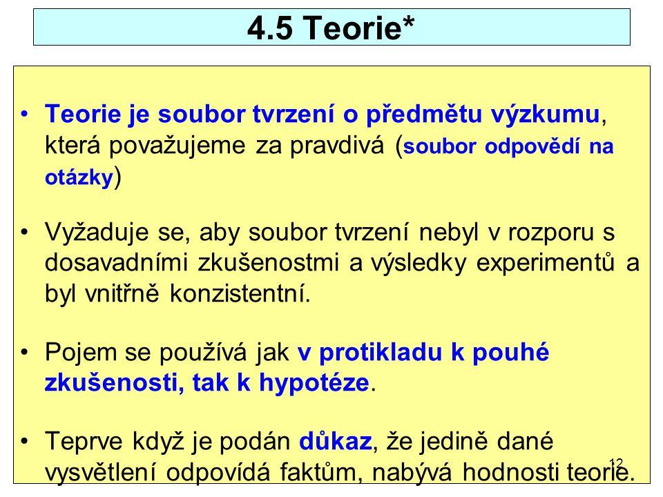 4.5 Teorie* Teorie je soubor tvrzení o předmětu výzkumu, která považujeme za pravdivá ( soubor odpovědí na otázky ) Vyžaduje se, aby soubor tvrzení ne