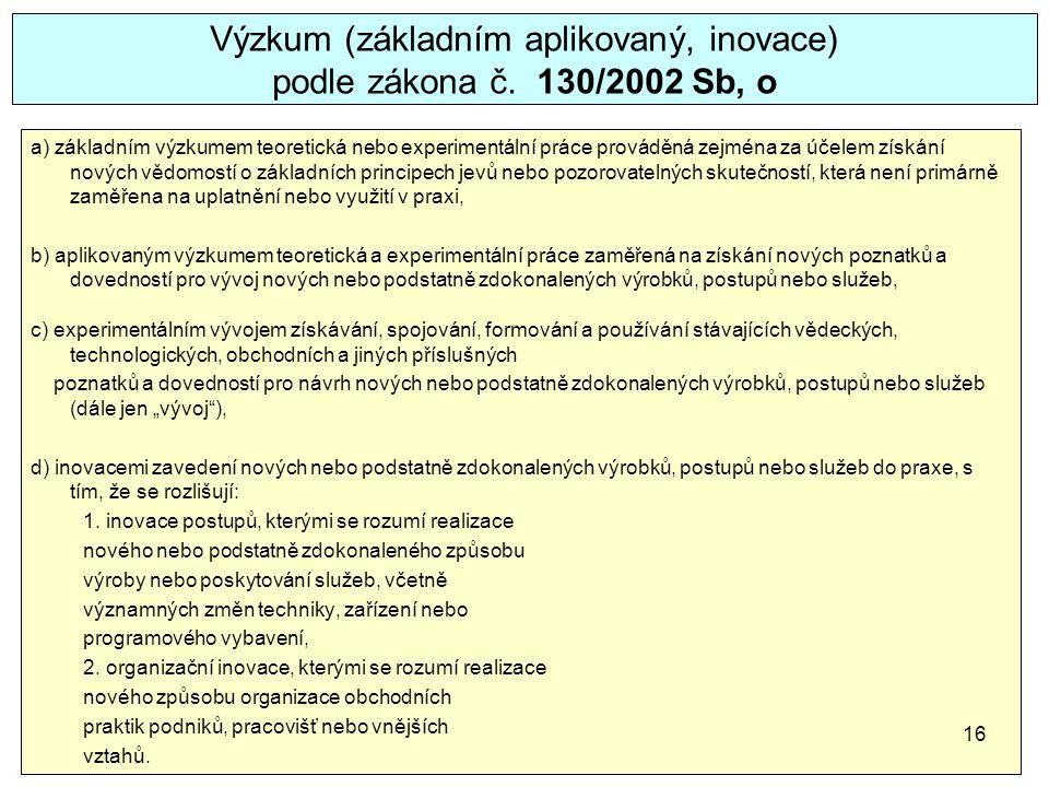 Výzkum (základním aplikovaný, inovace) podle zákona č. 130/2002 Sb, o a) základním výzkumem teoretická nebo experimentální práce prováděná zejména za