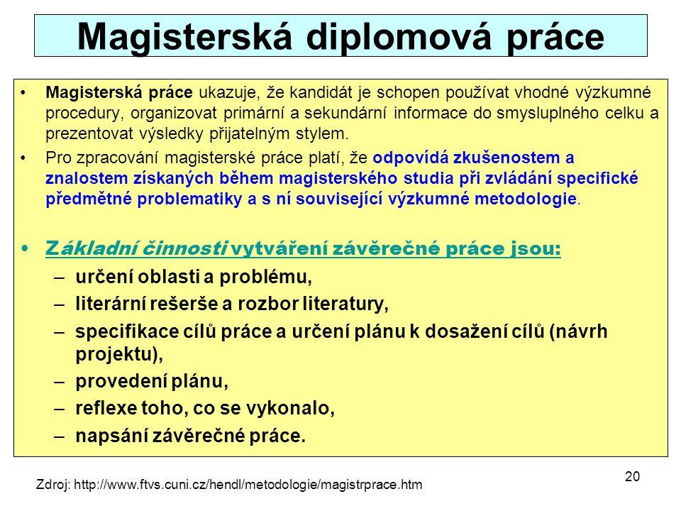 Magisterská diplomová práce Magisterská práce ukazuje, že kandidát je schopen používat vhodné výzkumné procedury, organizovat primární a sekundární in