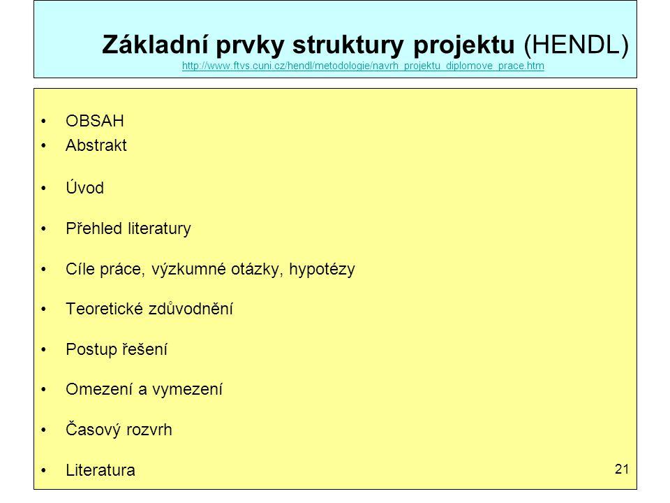 Základní prvky struktury projektu (HENDL) http://www.ftvs.cuni.cz/hendl/metodologie/navrh_projektu_diplomove_prace.htm http://www.ftvs.cuni.cz/hendl/m