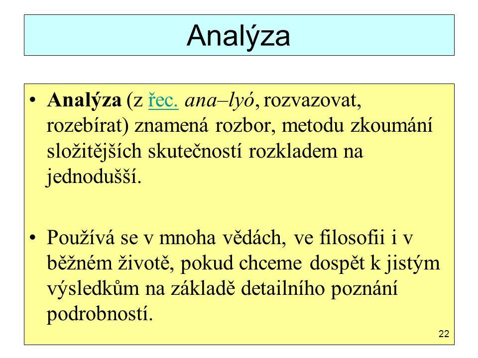 Analýza Analýza (z řec. ana–lyó, rozvazovat, rozebírat) znamená rozbor, metodu zkoumání složitějších skutečností rozkladem na jednodušší.řec. Používá