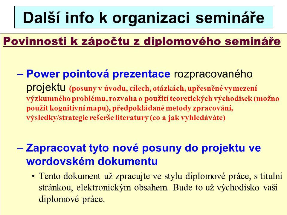 23 Další info k organizaci semináře Povinnosti k zápočtu z diplomového semináře –Power pointová prezentace rozpracovaného projektu (posuny v úvodu, cí