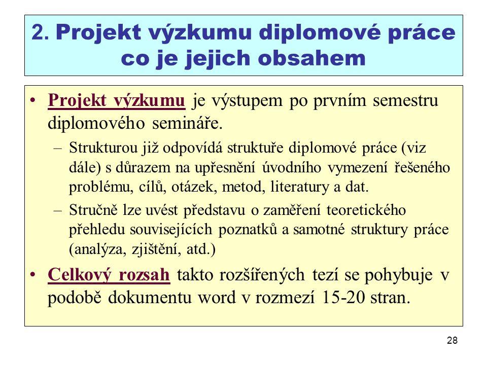 28 2. Projekt výzkumu diplomové práce co je jejich obsahem Projekt výzkumu je výstupem po prvním semestru diplomového semináře. –Strukturou již odpoví