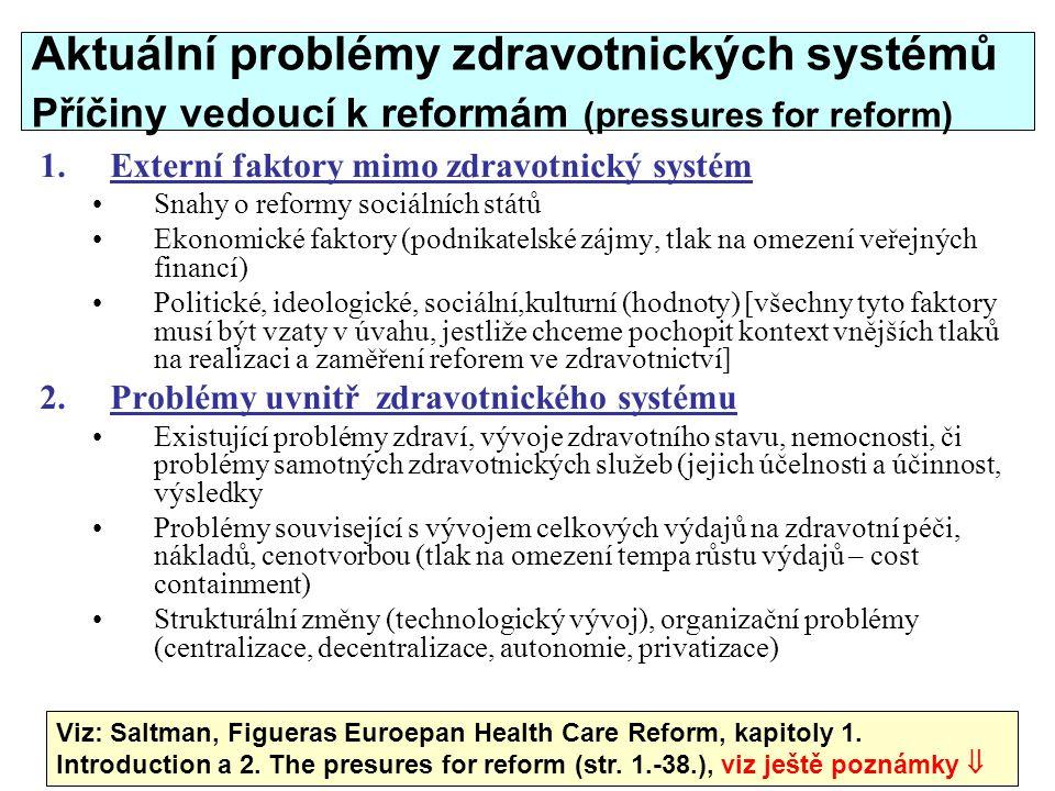 38 Aktuální problémy zdravotnických systémů Příčiny vedoucí k reformám (pressures for reform) 1.Externí faktory mimo zdravotnický systém Snahy o refor