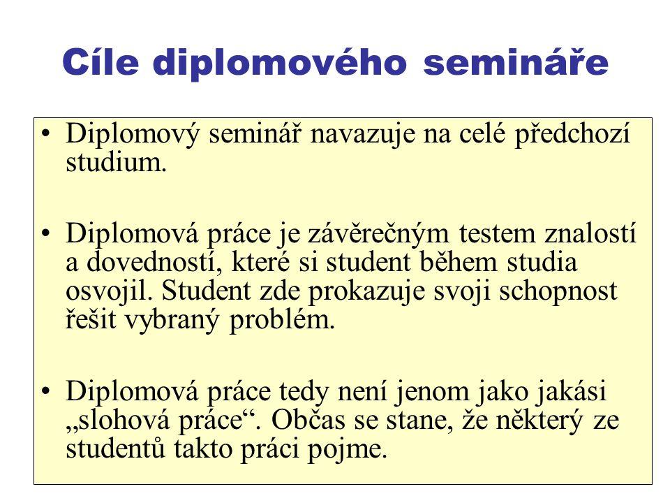 4 Cíle diplomového semináře Diplomový seminář navazuje na celé předchozí studium. Diplomová práce je závěrečným testem znalostí a dovedností, které si