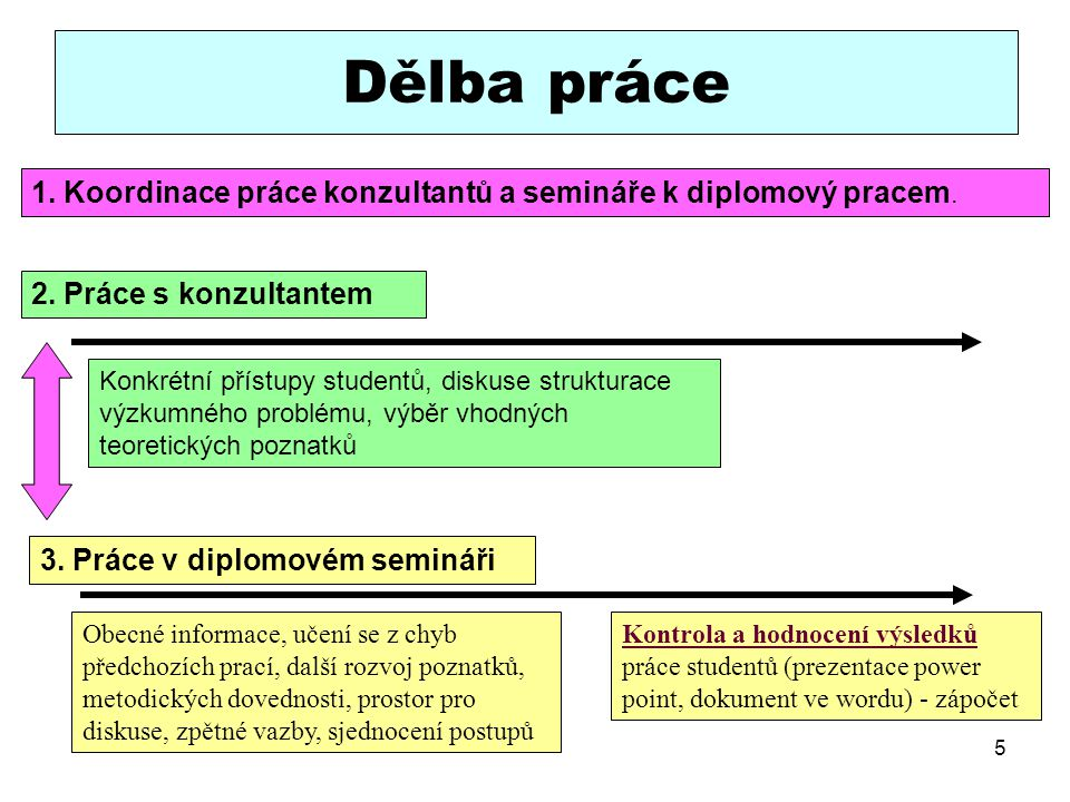 5 Dělba práce 2. Práce s konzultantem 3. Práce v diplomovém semináři Kontrola a hodnocení výsledků práce studentů (prezentace power point, dokument ve