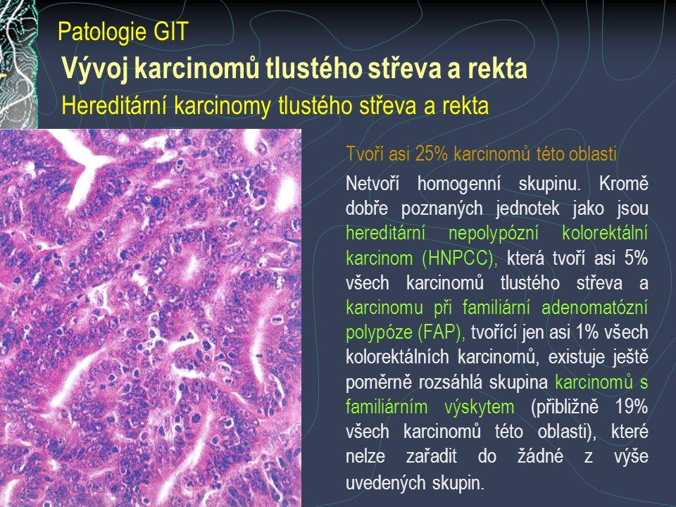 Vývoj karcinomů tlustého střeva a rekta Hereditární karcinomy tlustého střeva a rekta Tvoří asi 25% karcinomů této oblasti Netvoří homogenní skupinu.