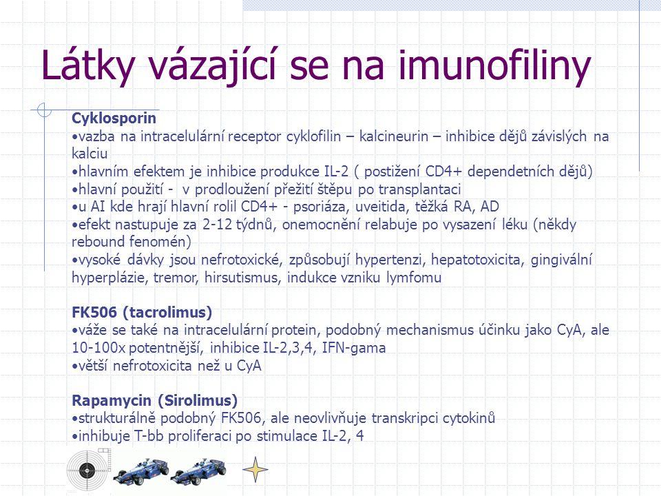 Látky vázající se na imunofiliny Cyklosporin vazba na intracelulární receptor cyklofilin – kalcineurin – inhibice dějů závislých na kalciu hlavním efe