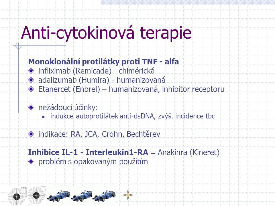 Anti-cytokinová terapie Monoklonální protilátky proti TNF - alfa infliximab (Remicade) - chimérická adalizumab (Humira) - humanizovaná Etanercet (Enbrel) – humanizovaná, inhibitor receptoru nežádoucí účinky: indukce autoprotilátek anti-dsDNA, zvýš.
