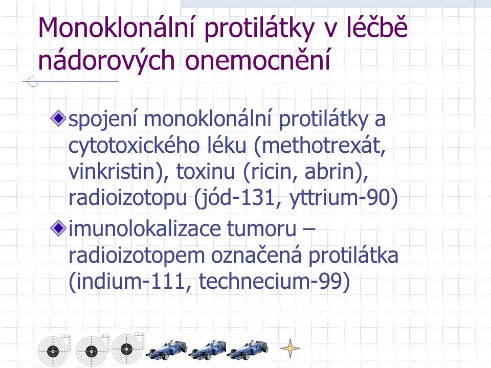 Monoklonální protilátky v léčbě nádorových onemocnění spojení monoklonální protilátky a cytotoxického léku (methotrexát, vinkristin), toxinu (ricin, abrin), radioizotopu (jód-131, yttrium-90) imunolokalizace tumoru – radioizotopem označená protilátka (indium-111, technecium-99)