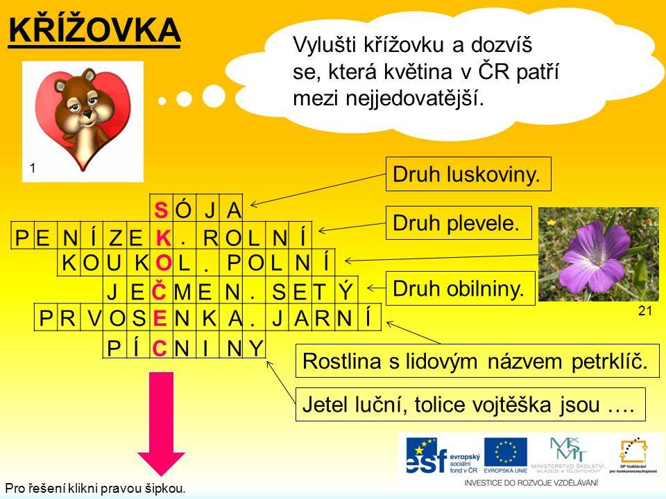 .... KŘÍŽOVKA Vylušti křížovku a dozvíš se, která květina v ČR patří mezi nejjedovatější. Druh luskoviny. Druh plevele. Rostlina s lidovým názvem petr