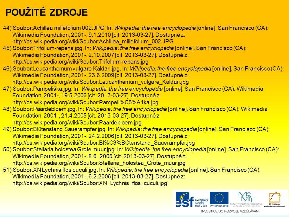 44) Soubor:Achillea millefolium 002.JPG. In: Wikipedia: the free encyclopedia [online]. San Francisco (CA): Wikimedia Foundation, 2001-, 9.1.2010 [cit