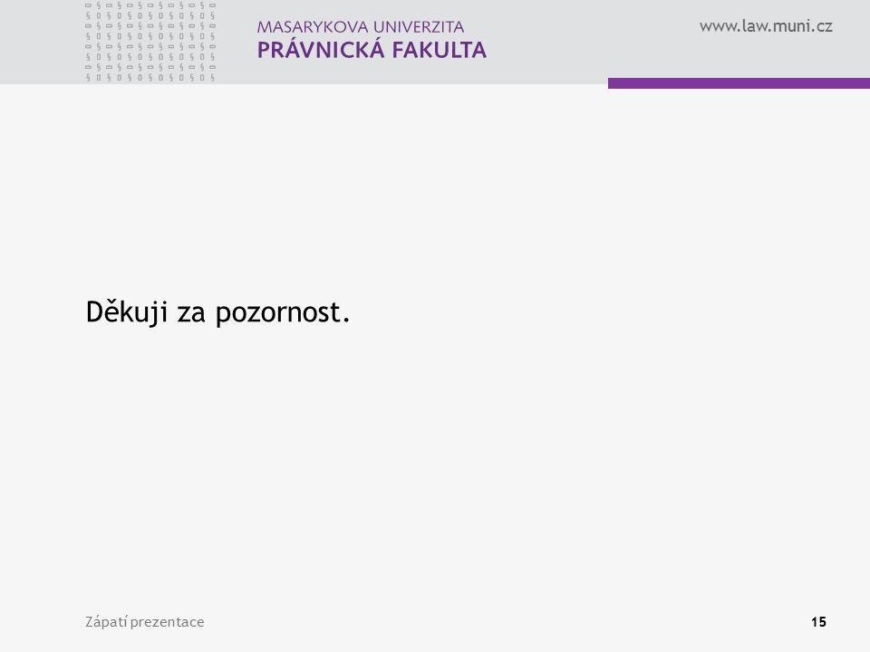 www.law.muni.cz Zápatí prezentace15 Děkuji za pozornost.